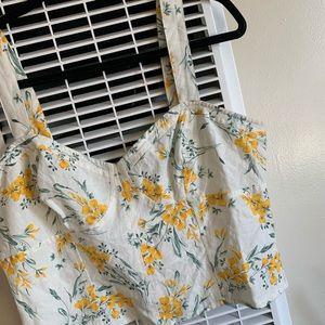 NWT ASOS yellow floral sleeveless crop top
